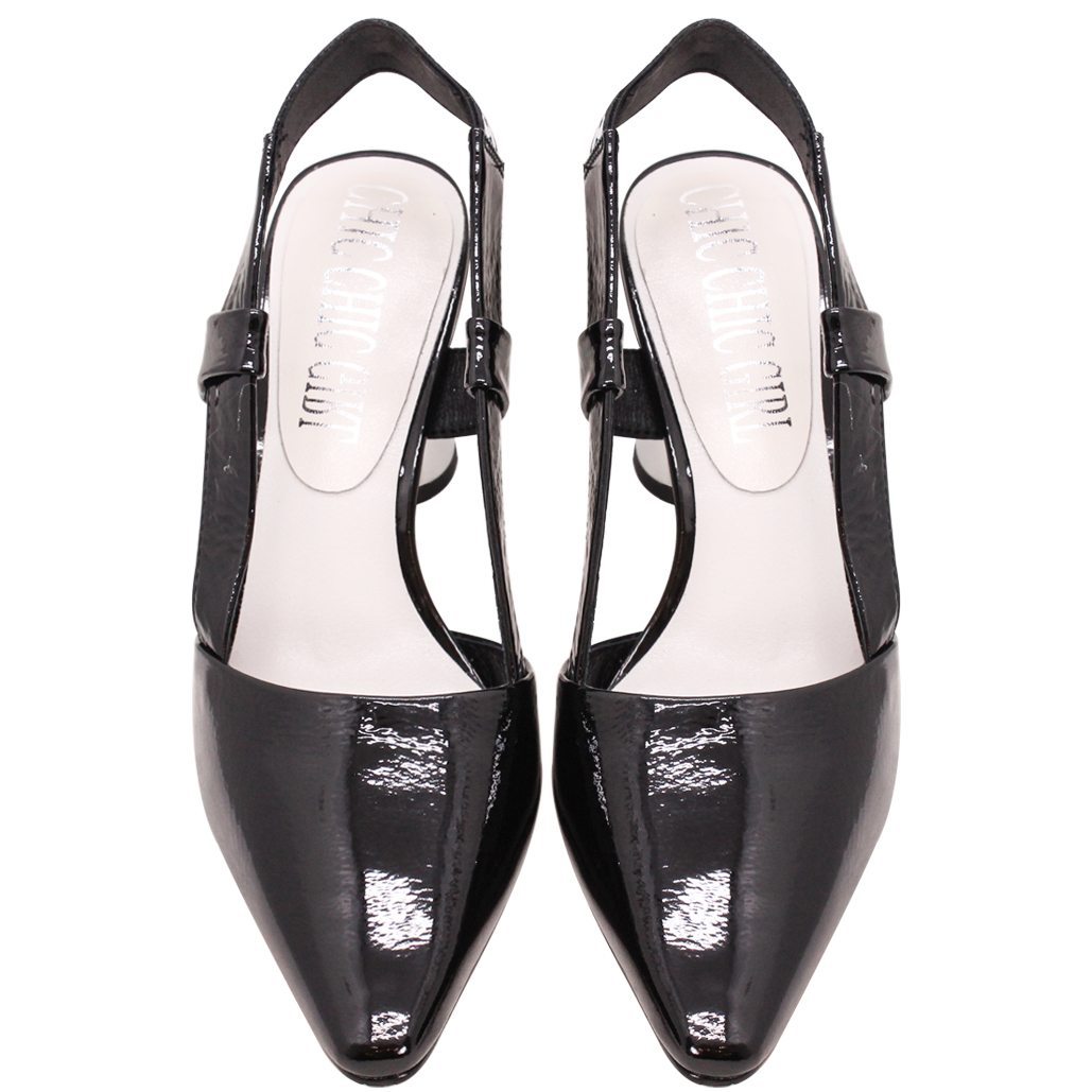 Dior風羊漆皮粗跟尖頭涼鞋