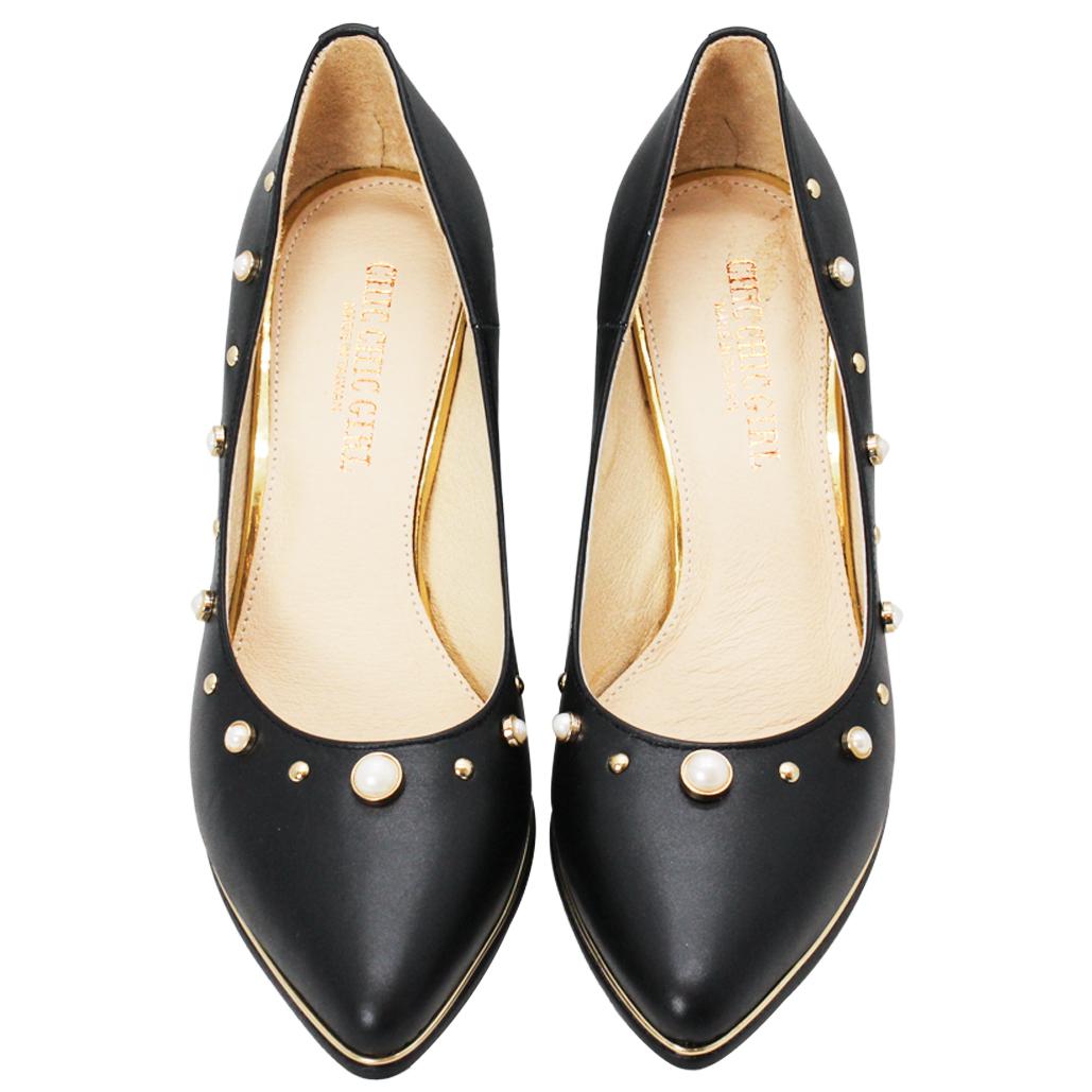 古馳風珍珠控小羊皮尖頭跟鞋