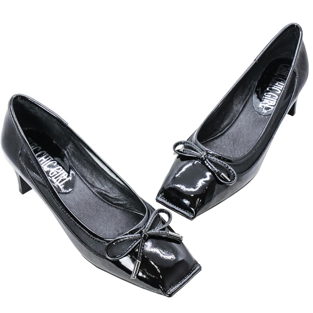 MIUMIU風復古方頭蝴蝶結羊漆皮低跟鞋