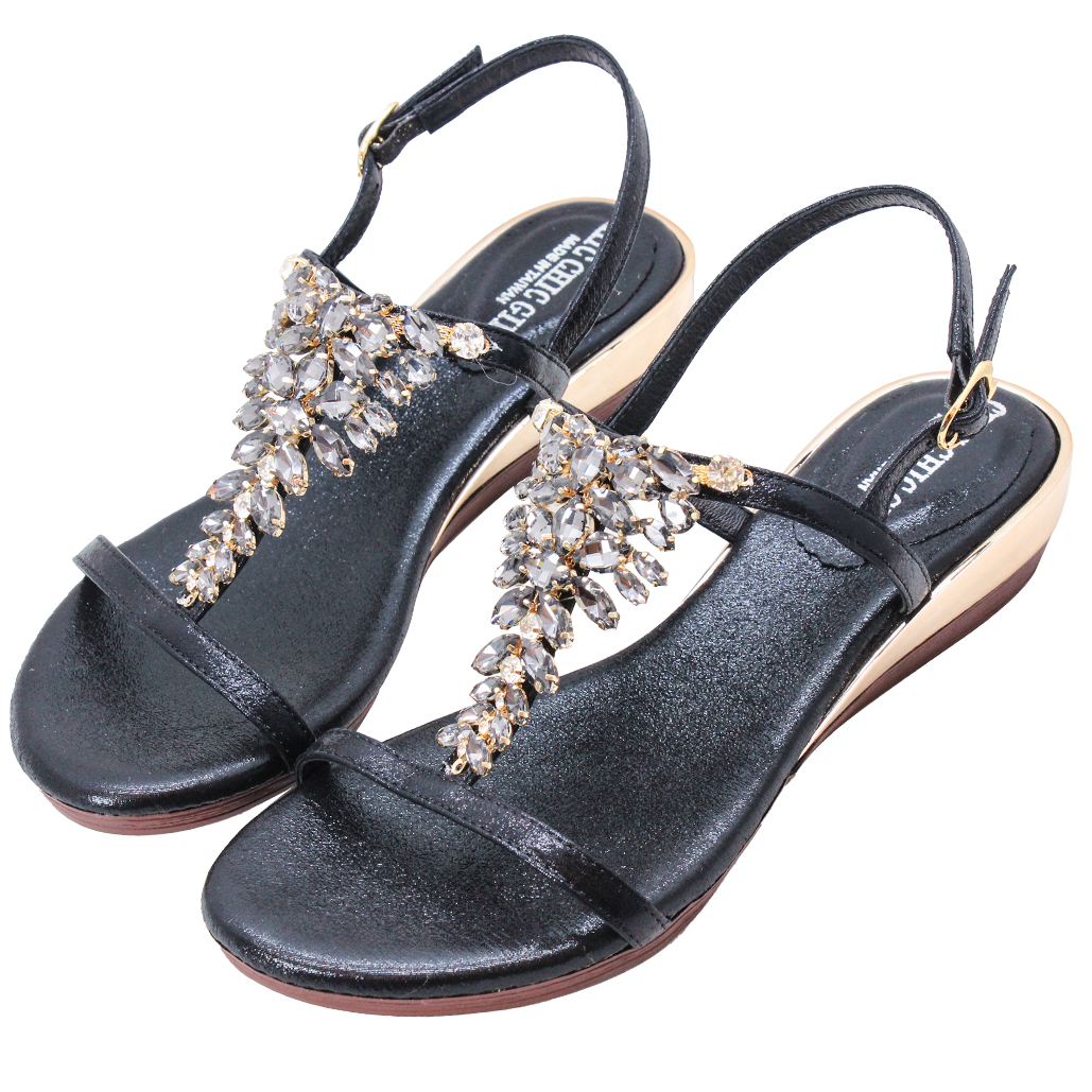 Bling寶石風頂級絲光布平口小坡跟涼鞋