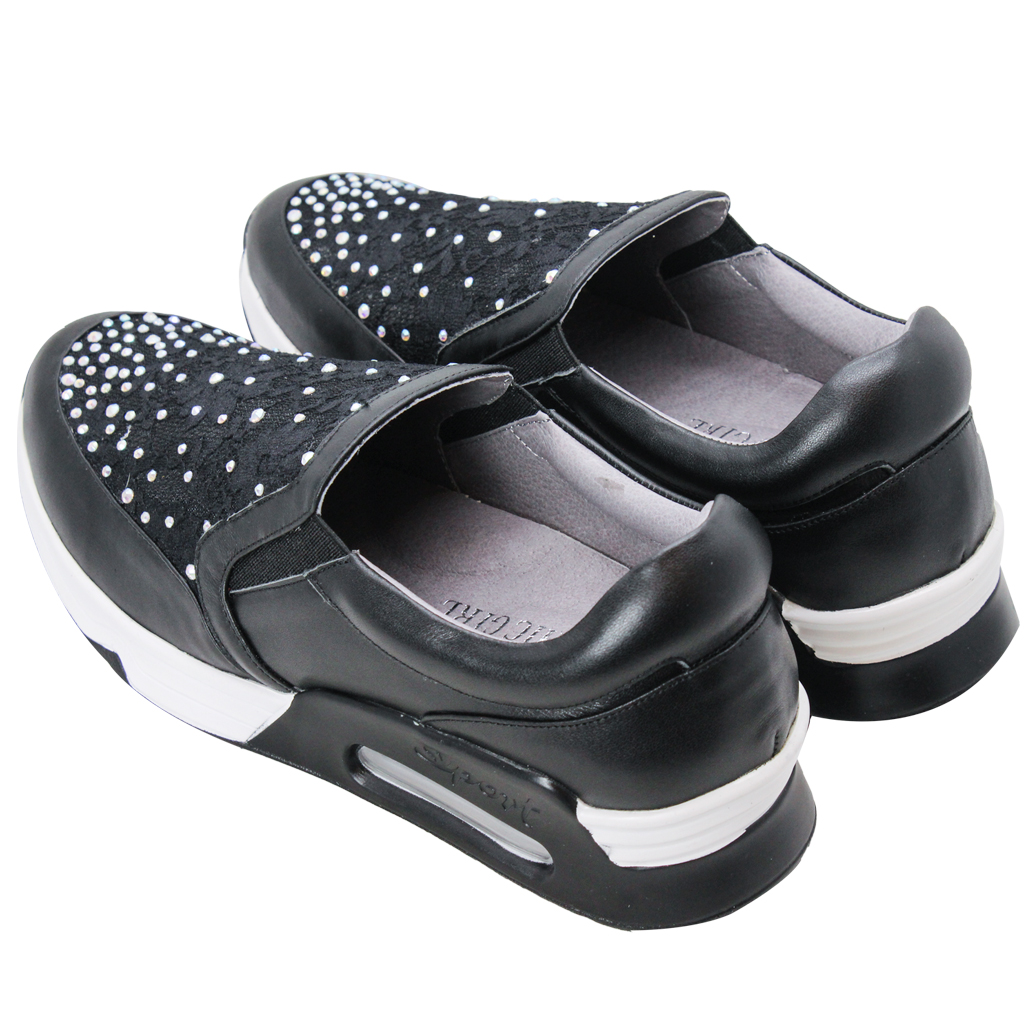 頂級蕾絲水鑽小牛皮氣墊增高休閒鞋
