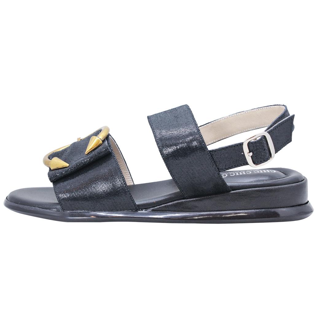 韓風小羊皮C字釦氣墊平底涼鞋