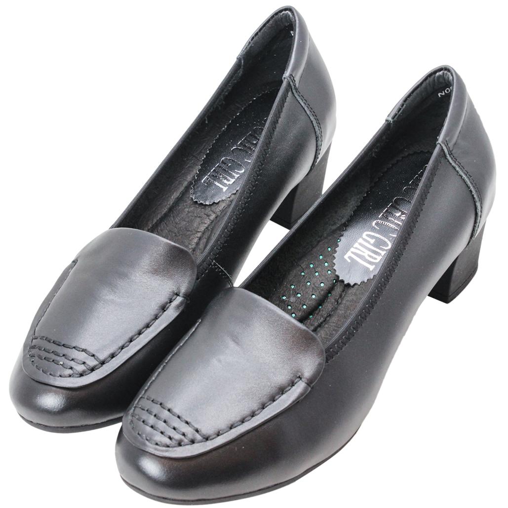 日系風基本款小羊皮粗跟鞋