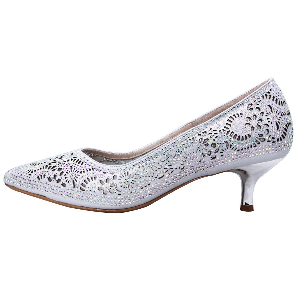 銀河小羊皮水鑽雷雕低跟晚宴鞋