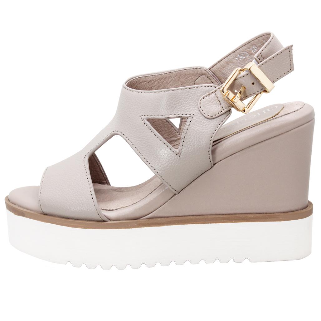 時尚小牛皮H字輕高楔型涼鞋