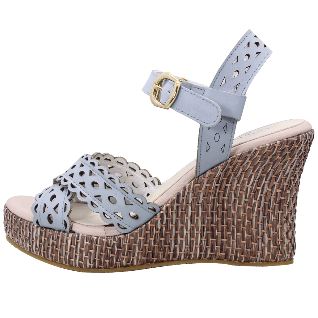 甜美風小牛皮雷雕草編楔型涼鞋涼鞋