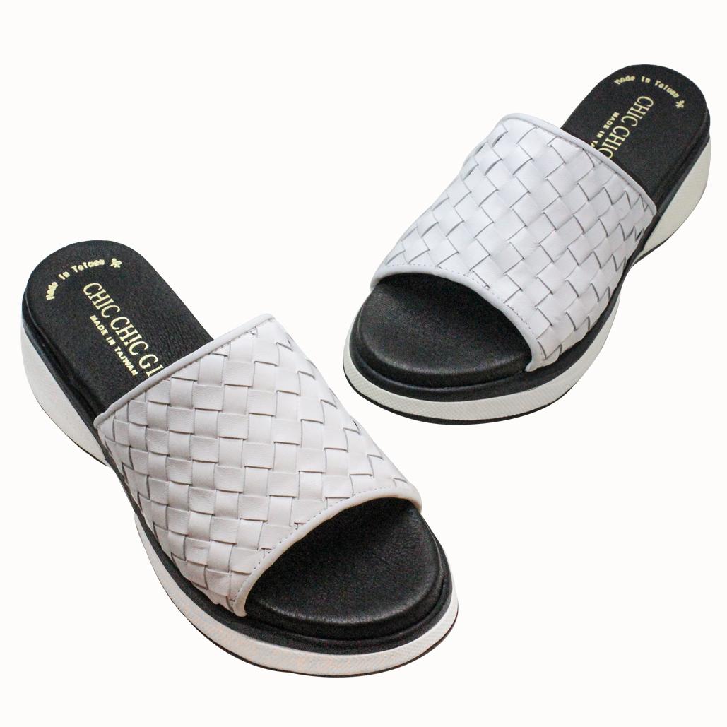 BV風編織小牛皮輕量化氣墊拖鞋
