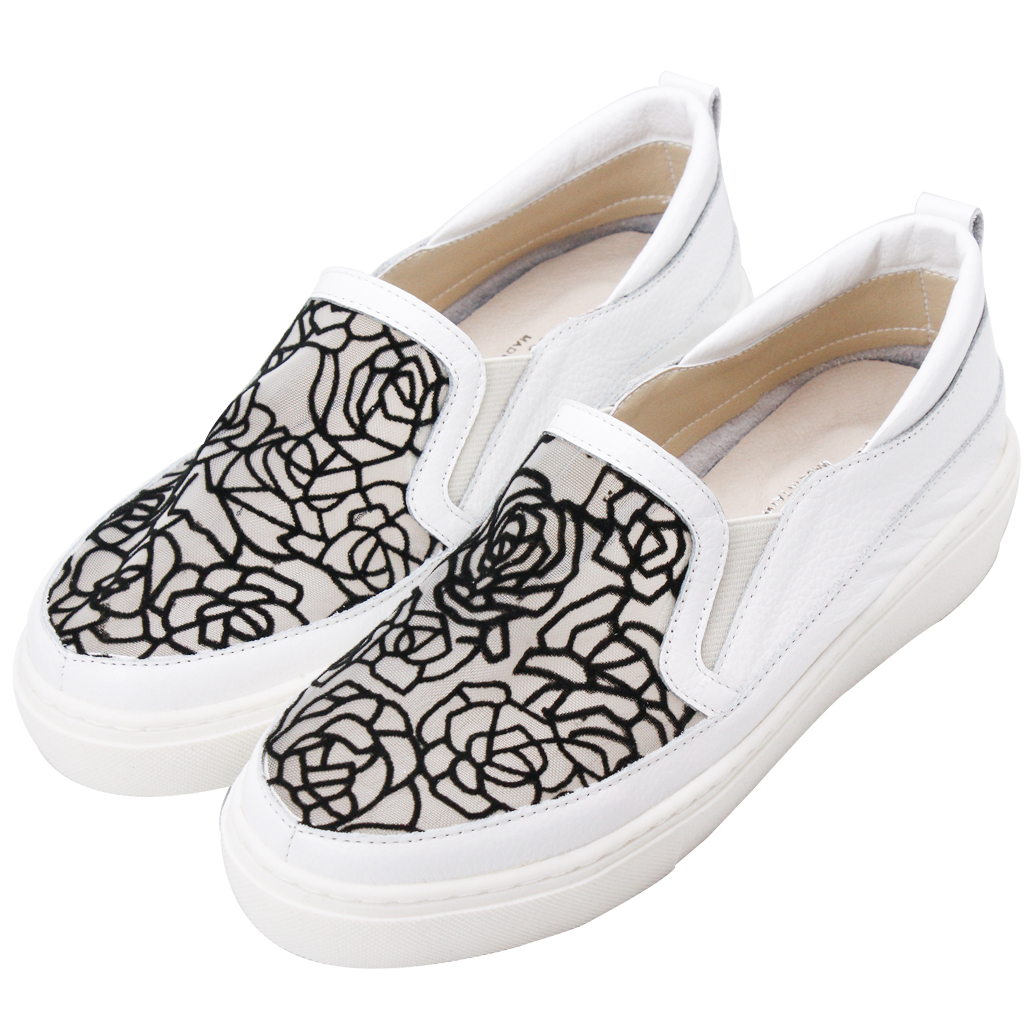 氣質玫瑰網狀小牛皮透氣休閒鞋