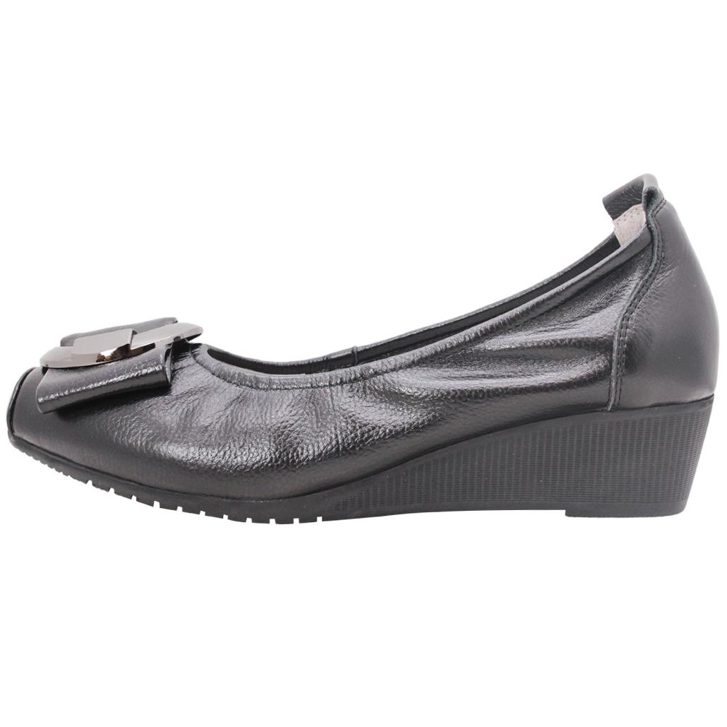 C字釦蝴蝶結小牛皮楔型鞋