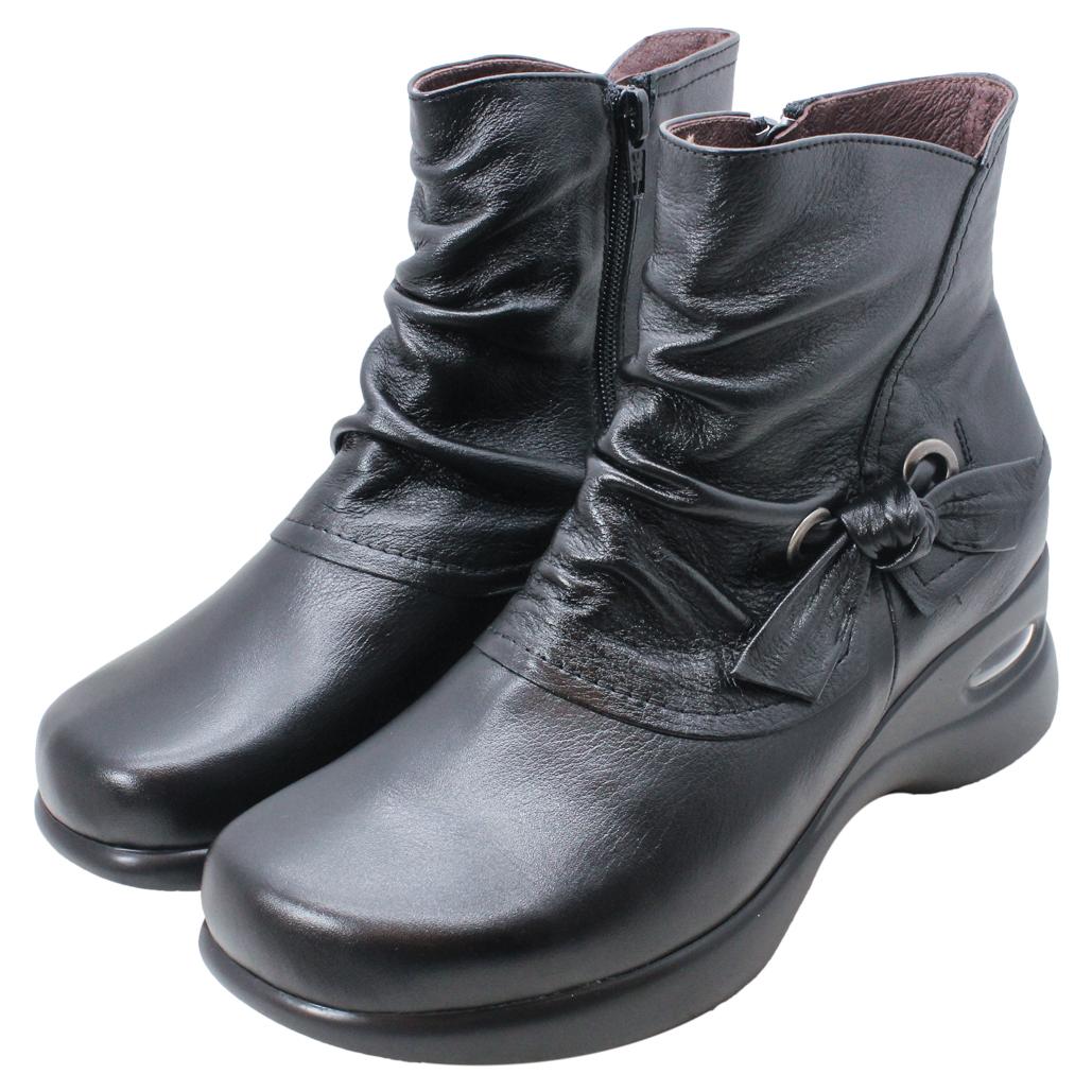 義大利頂級小羊皮蝴蝶結楔型短靴