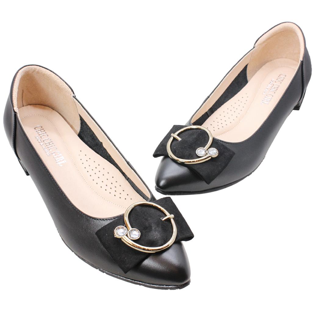 氣質蝴蝶結小牛皮氣墊低跟鞋