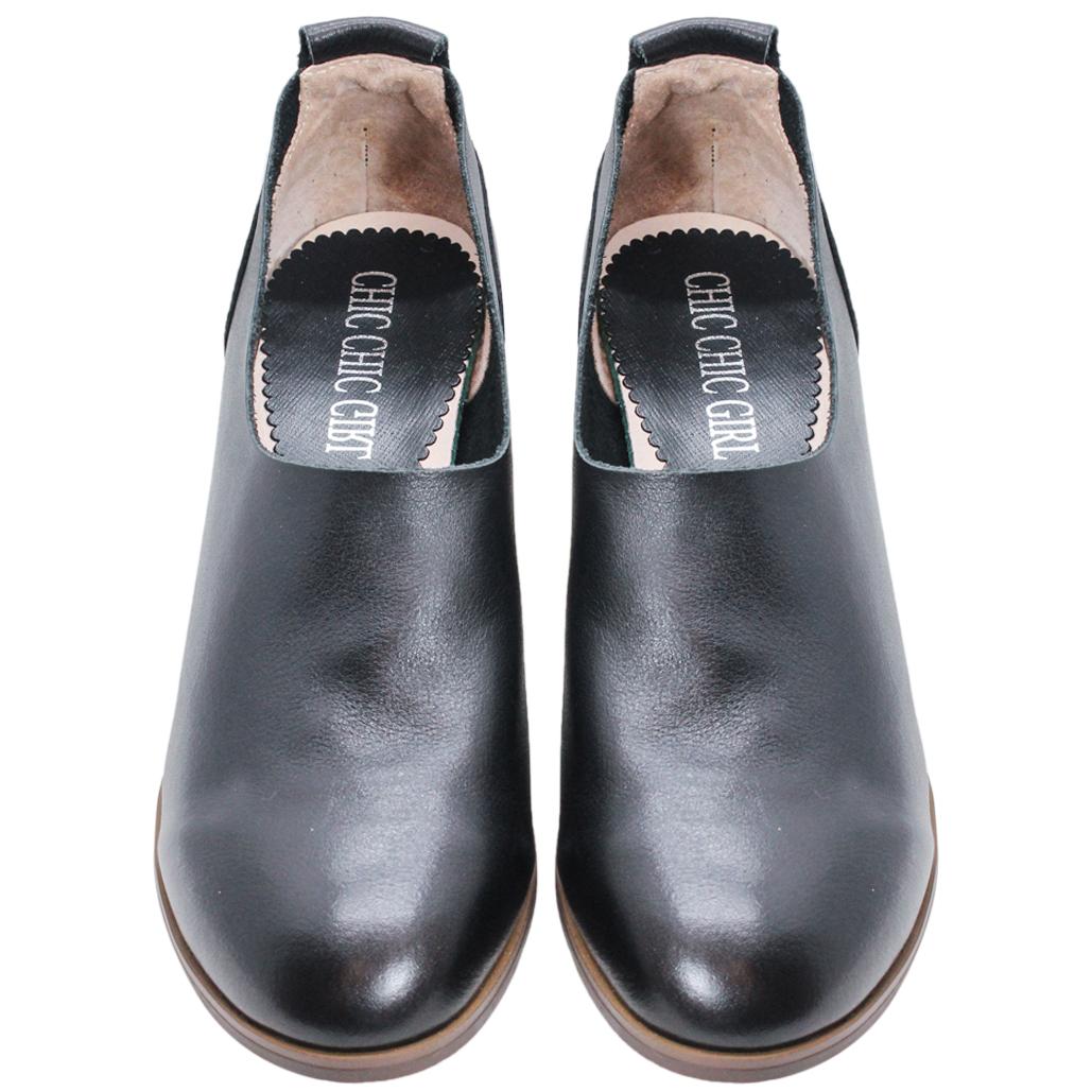 簡約風頂級小牛皮木紋跟踝靴