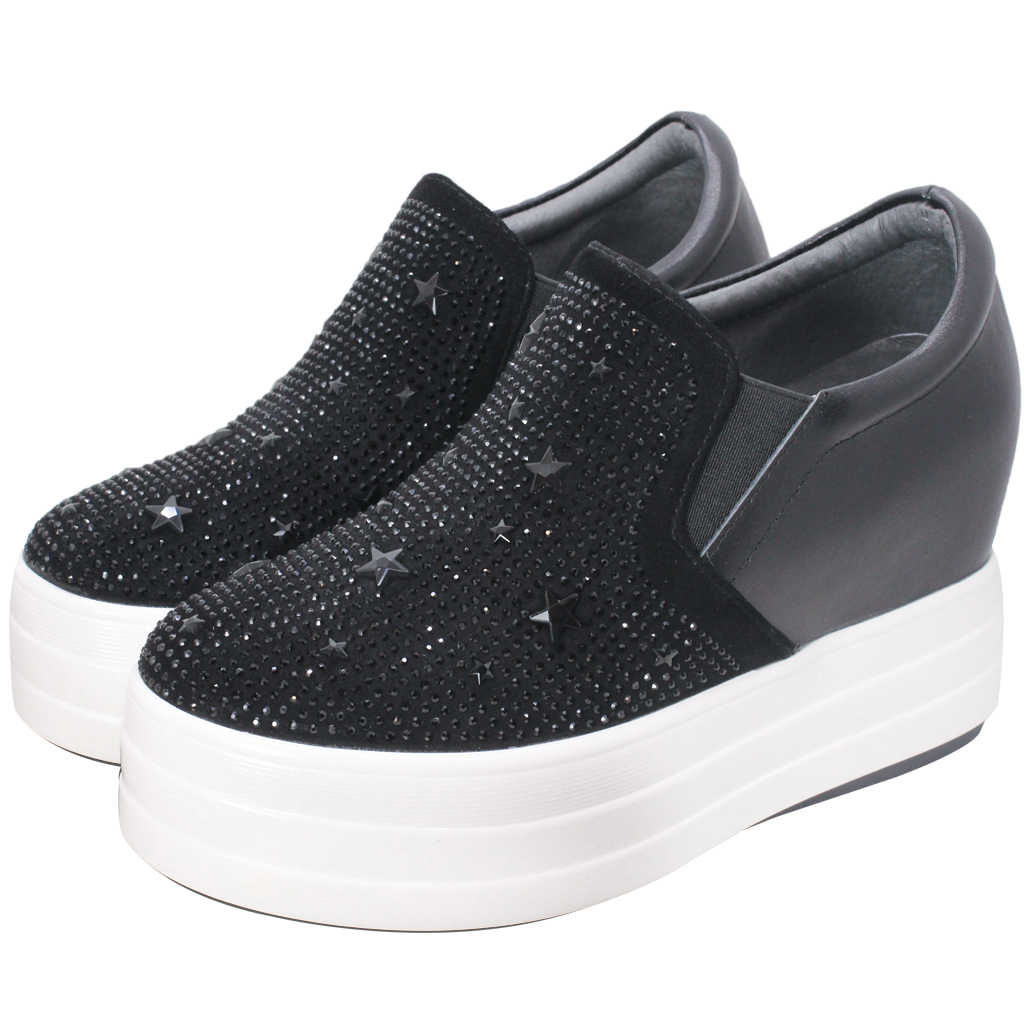 星星亮鑽小羊皮厚底內增高鞋