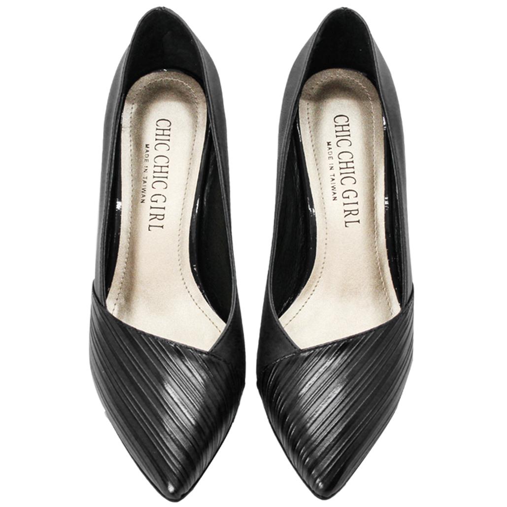 LV風小羊皮特殊壓紋跟鞋