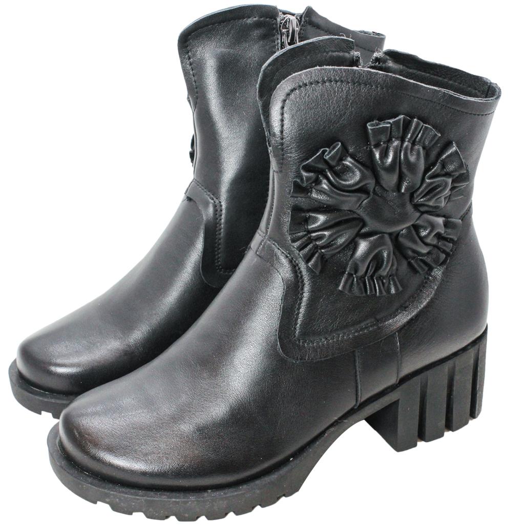 頂級小牛皮太陽花中跟短靴