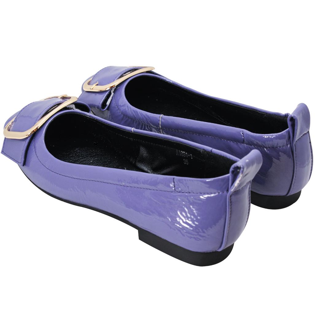 頂級羊漆皮金屬釦方頭娃娃鞋