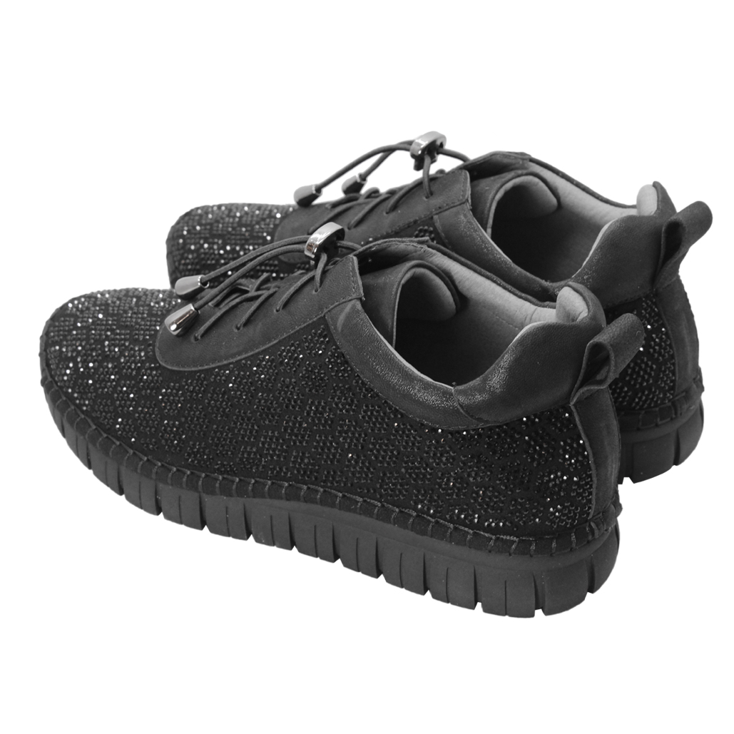 低調奢華羊麂皮貼鑽厚底休閒鞋