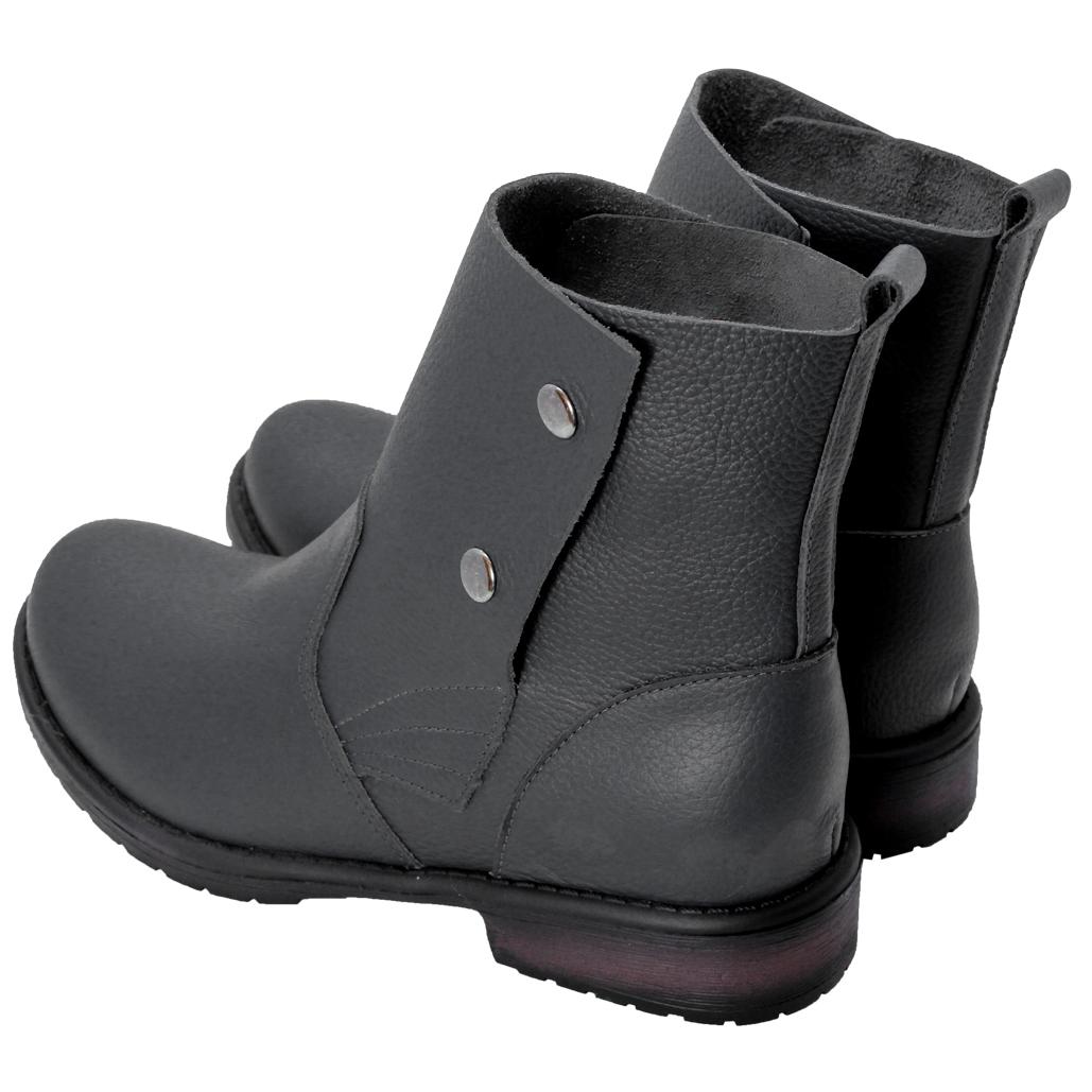 個性風小牛皮釦式短靴