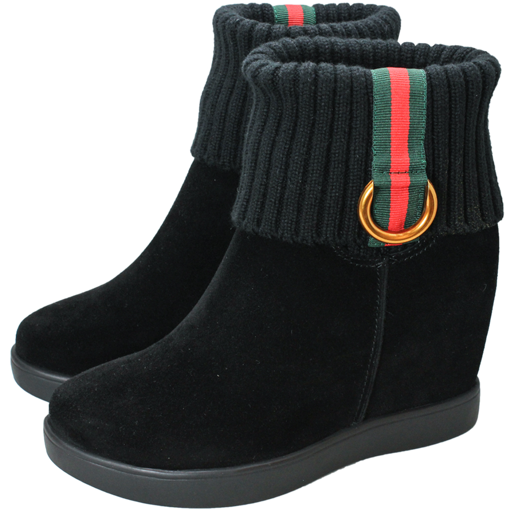 Gucci風羊麂皮楔型內增高保暖短靴