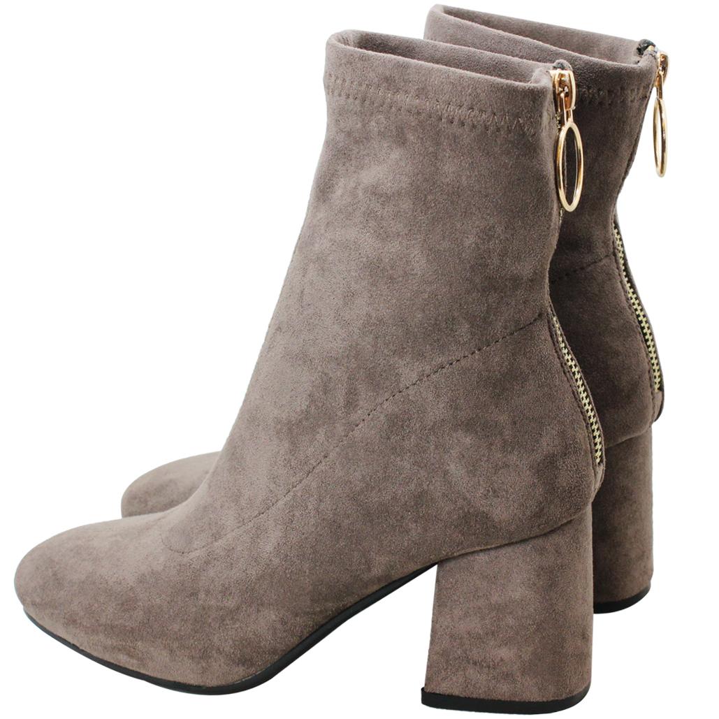 超顯瘦時尚萊卡粗跟襪靴