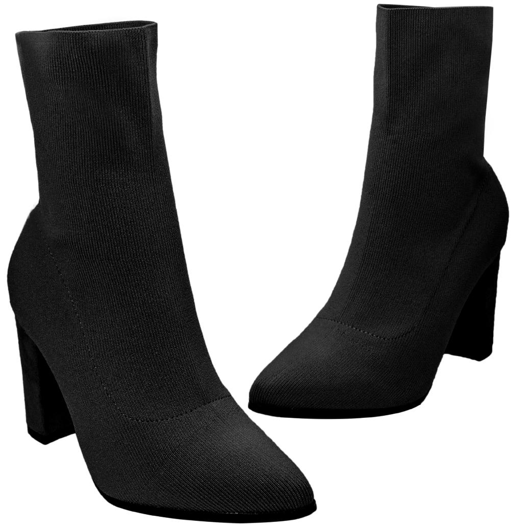 超顯瘦貼腿時尚萊卡中跟襪靴