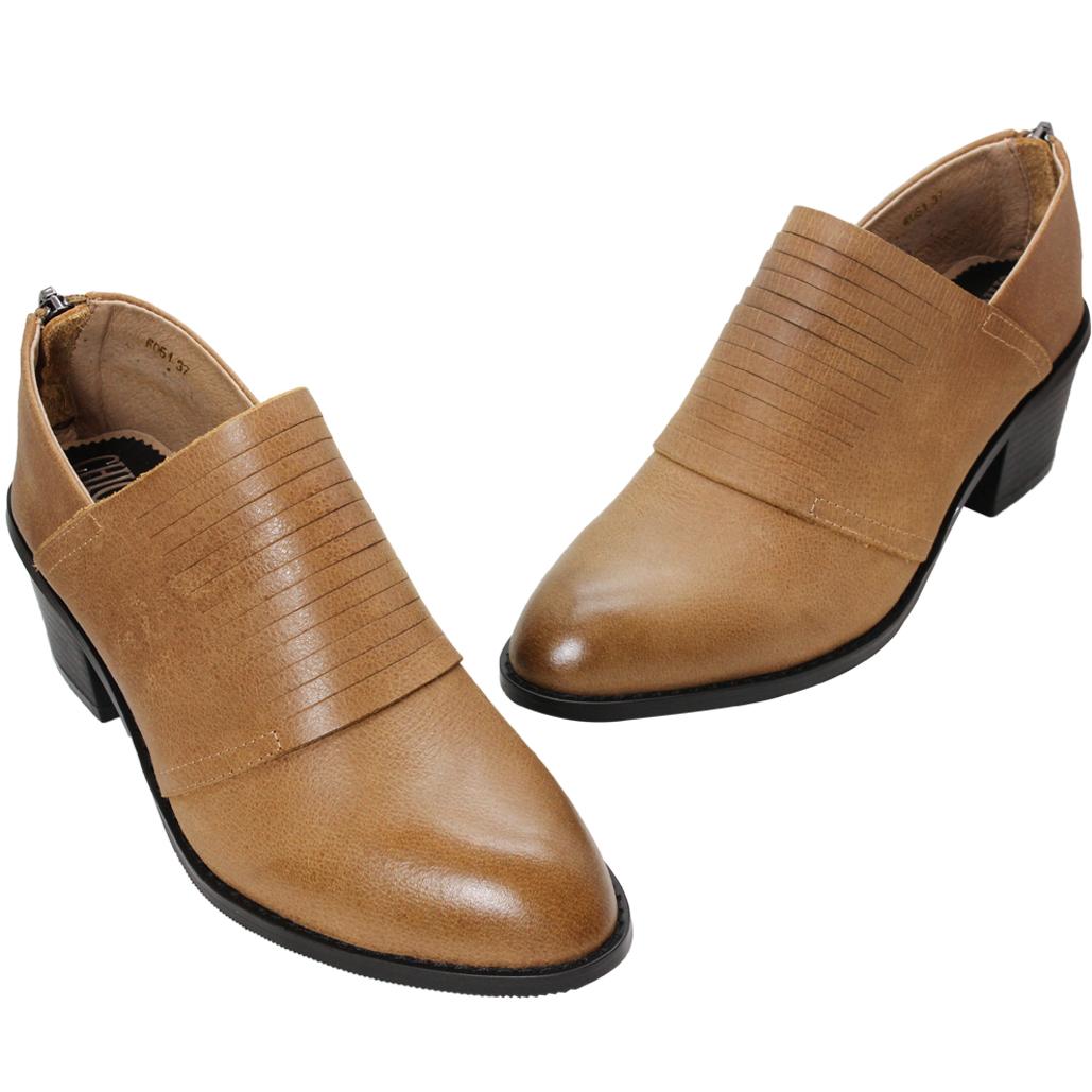 時尚小牛皮粗跟顯瘦踝靴