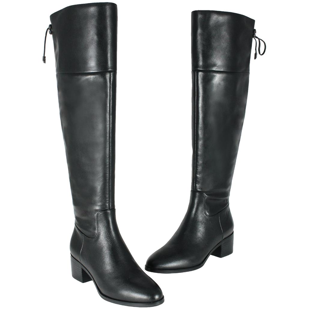 時尚簡約風小牛皮粗跟過膝靴