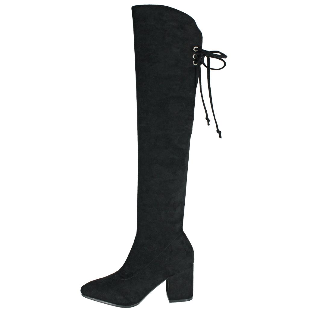 歐美風顯瘦貼腿絨布過膝粗跟襪靴