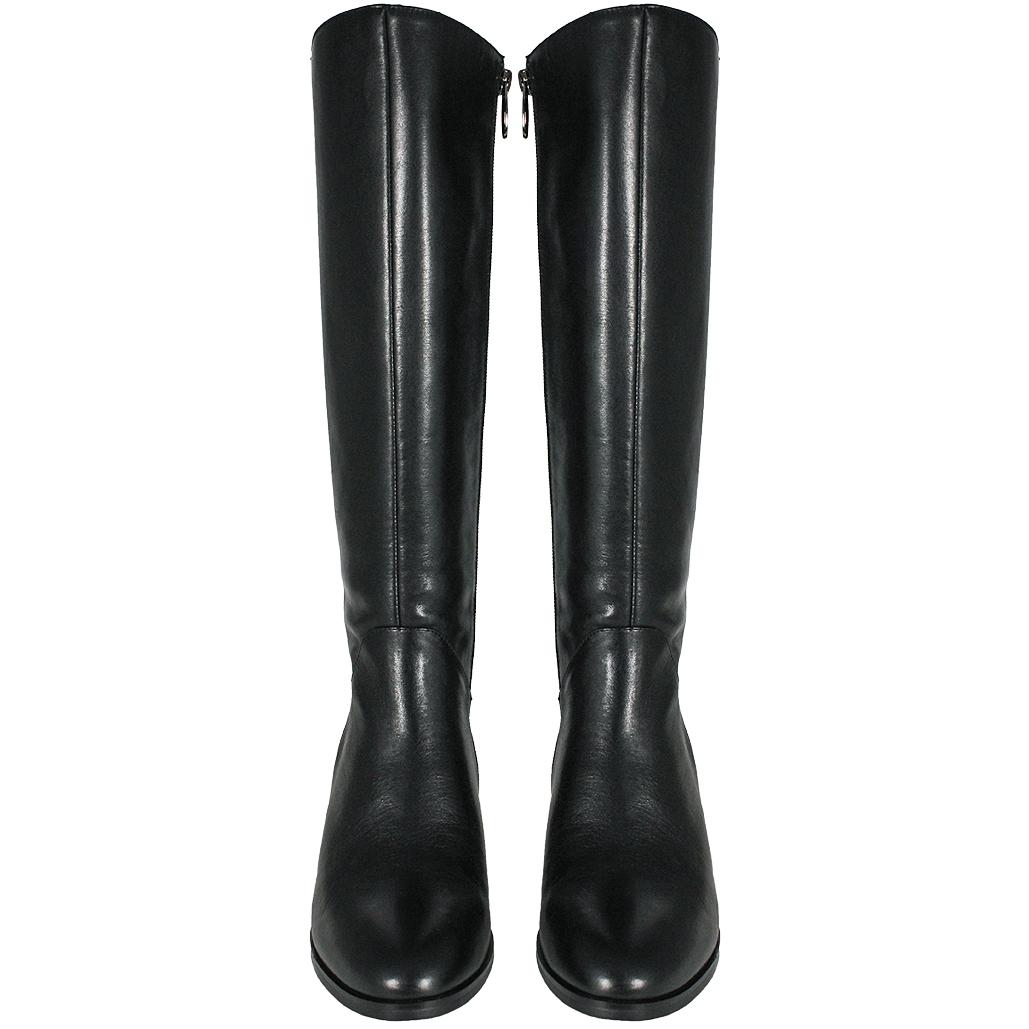 輕量化水鑽小牛皮拼接麂皮粗跟長靴