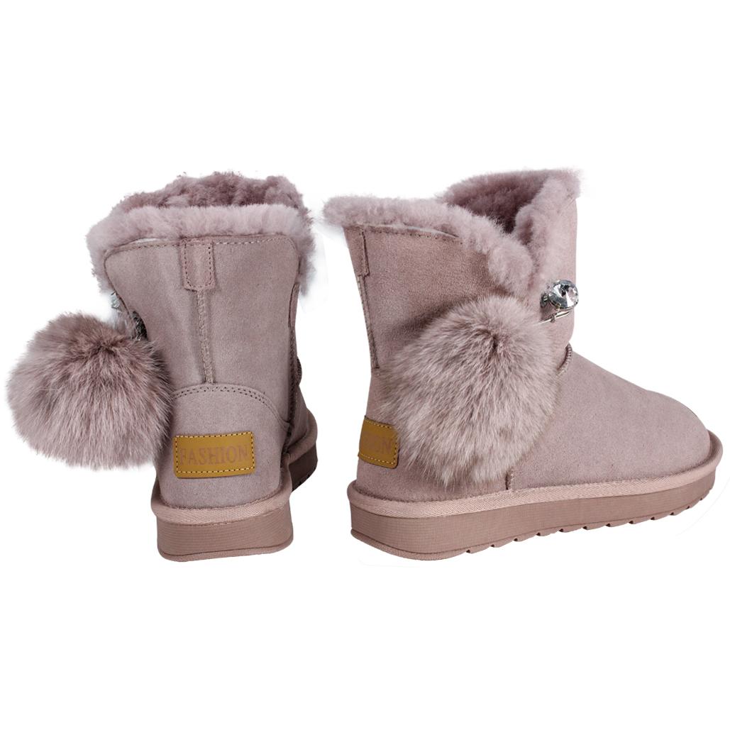可愛風羊麂皮兔毛保暖雪靴
