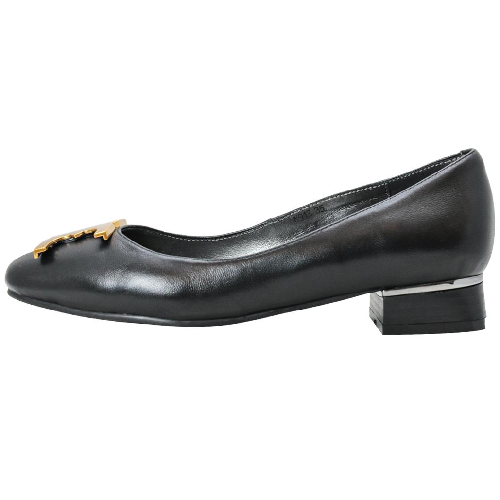 OL款字母造型小羊皮低跟鞋