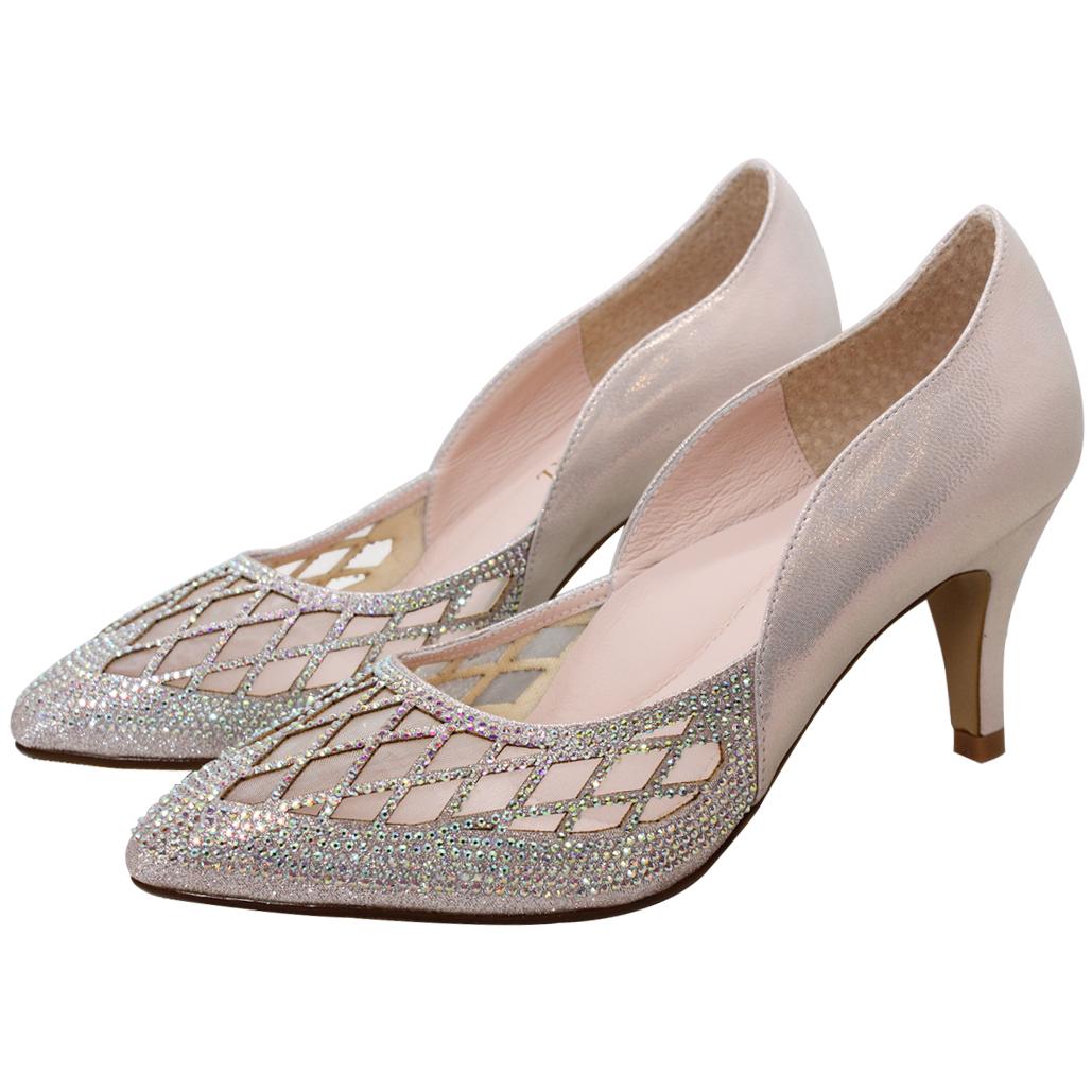 高貴水鑽小羊皮鏤空晚宴中跟鞋