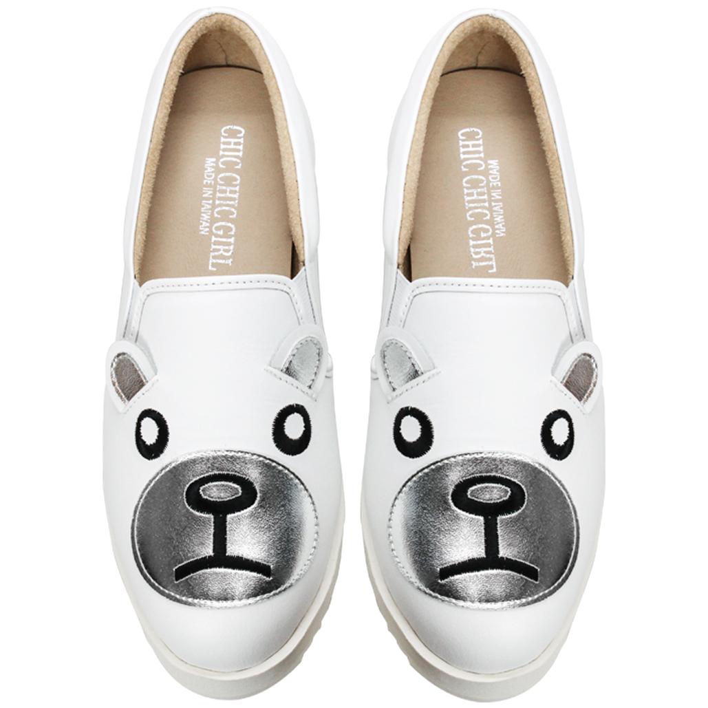 可愛熊熊小牛皮厚底休閒鞋(北極熊款)