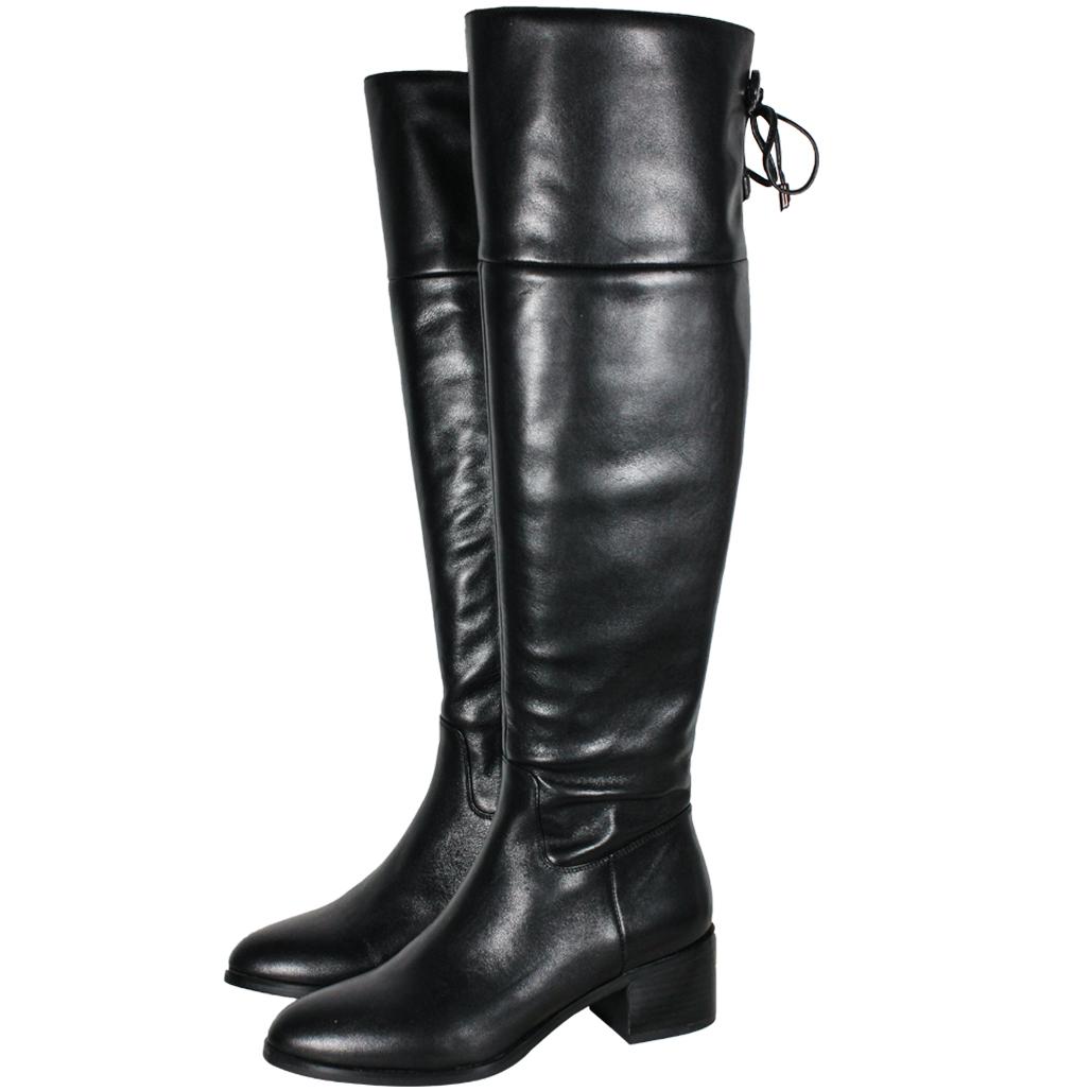 頂級義大利小牛皮時尚款中跟過膝靴