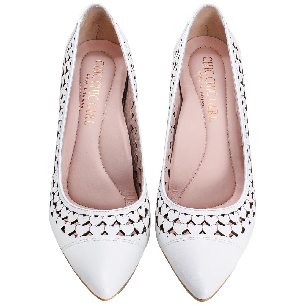 愛心雷射雕花小羊皮3D足弓氣墊跟鞋