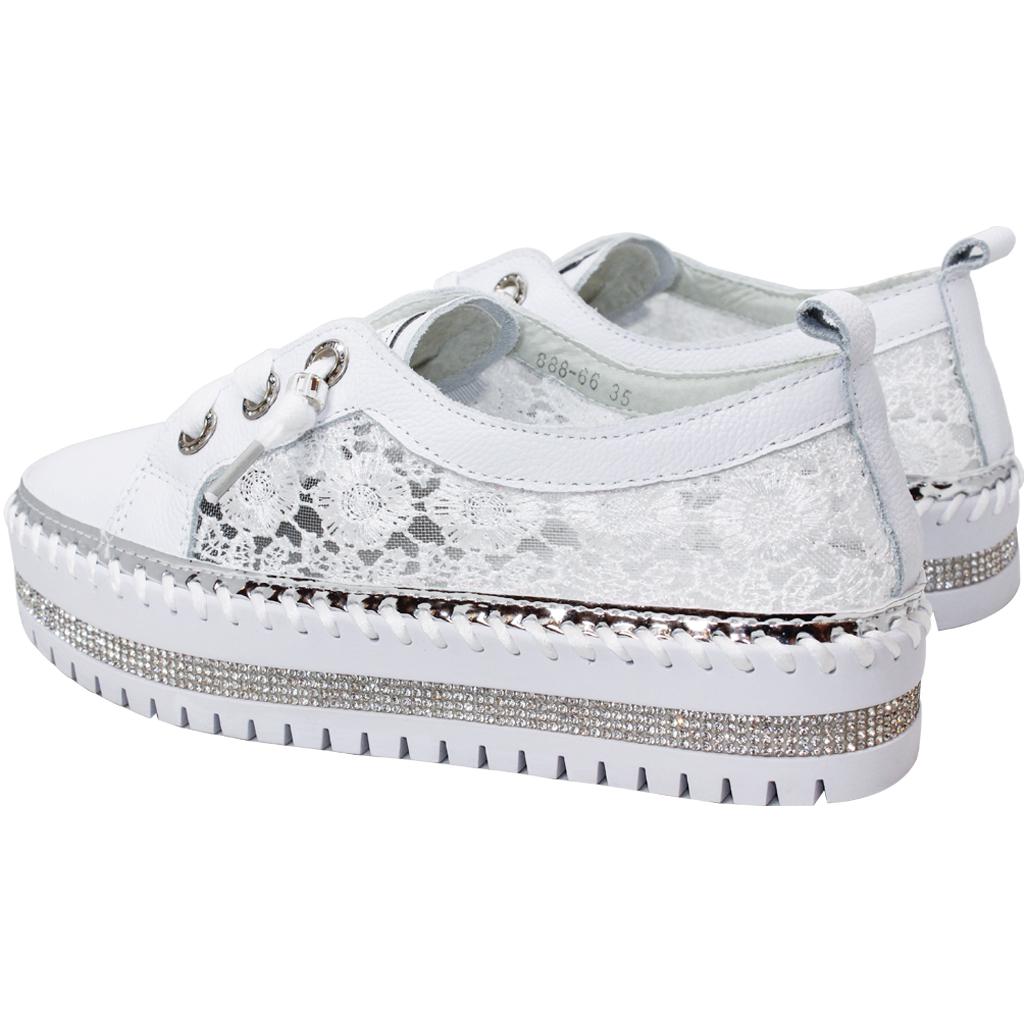 浪漫蕾絲小牛皮亮鑽厚底鞋