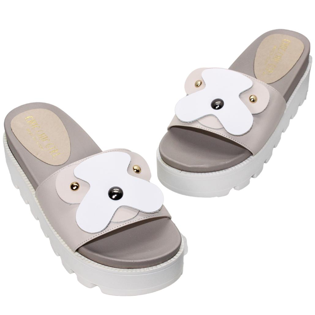 可愛狗狗小牛皮厚底增高拖鞋