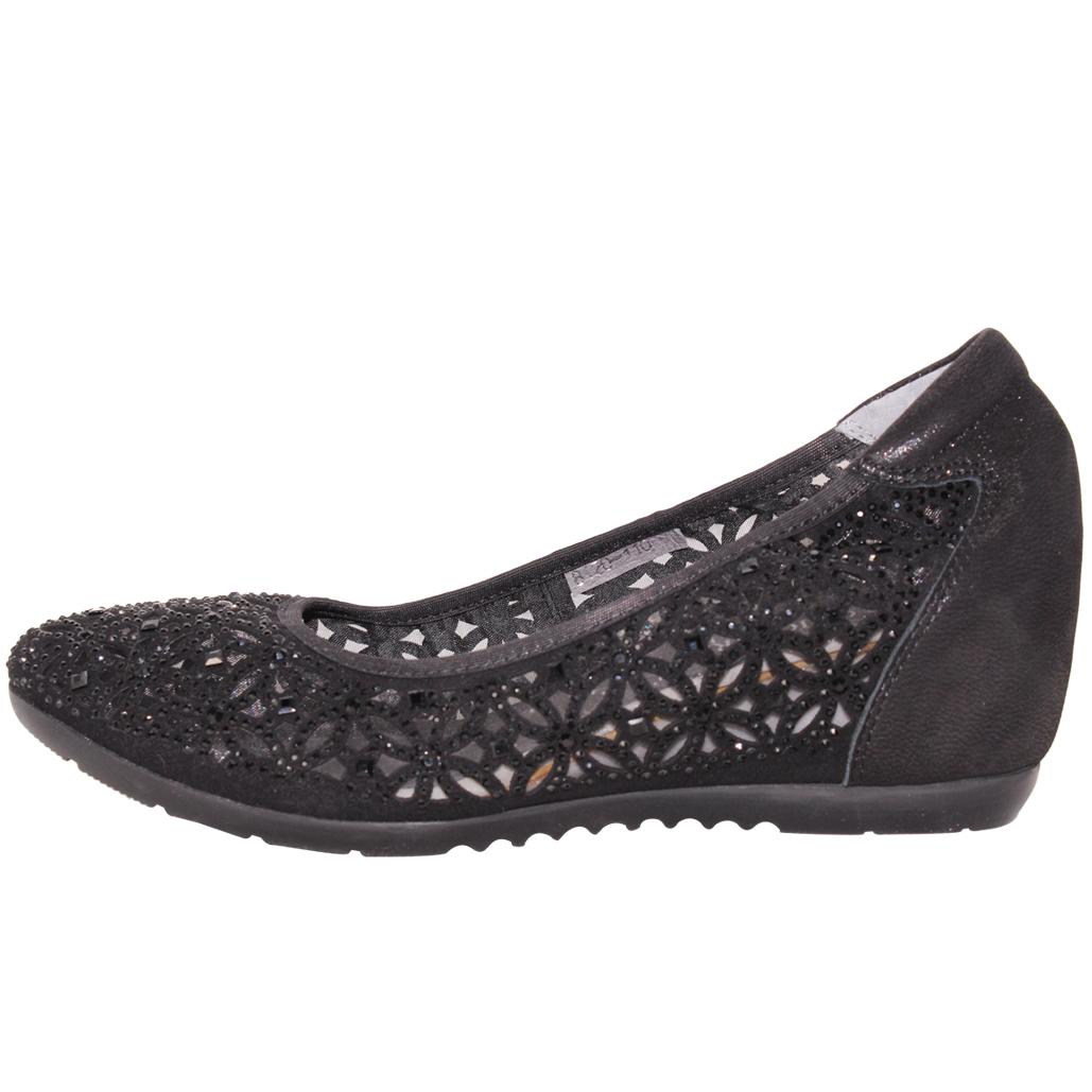 時尚水鑽小羊皮楔形增高鞋