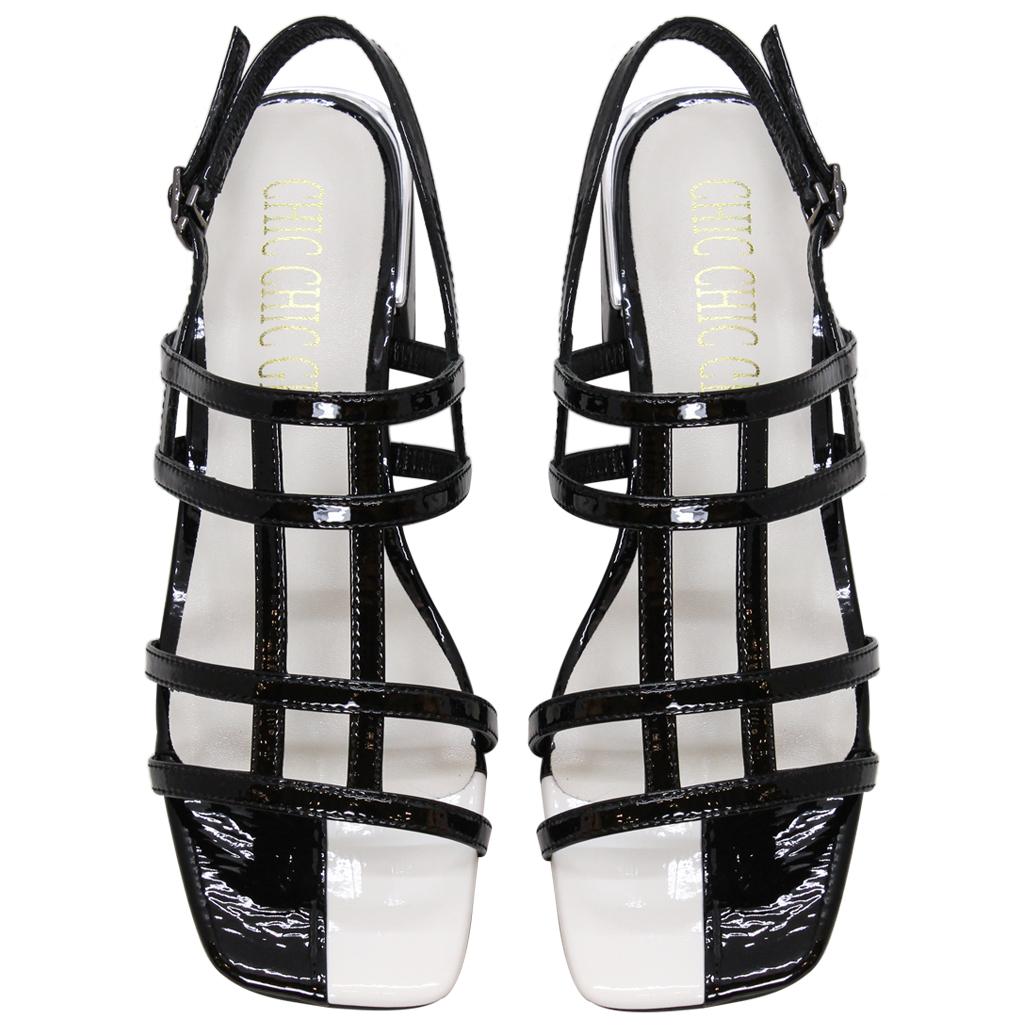 韓風羊漆皮細帶粗跟涼鞋