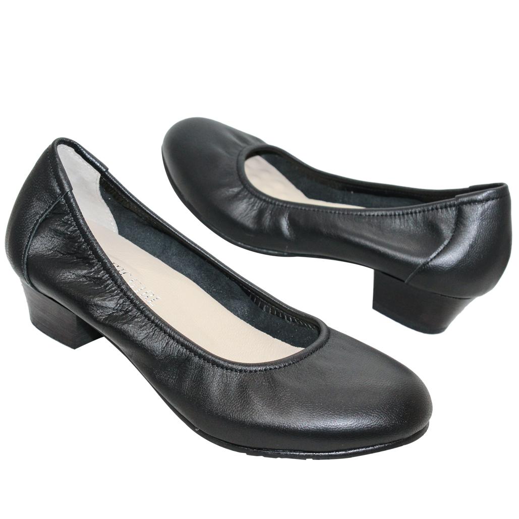 OL款小羊皮圓頭氣墊低跟鞋