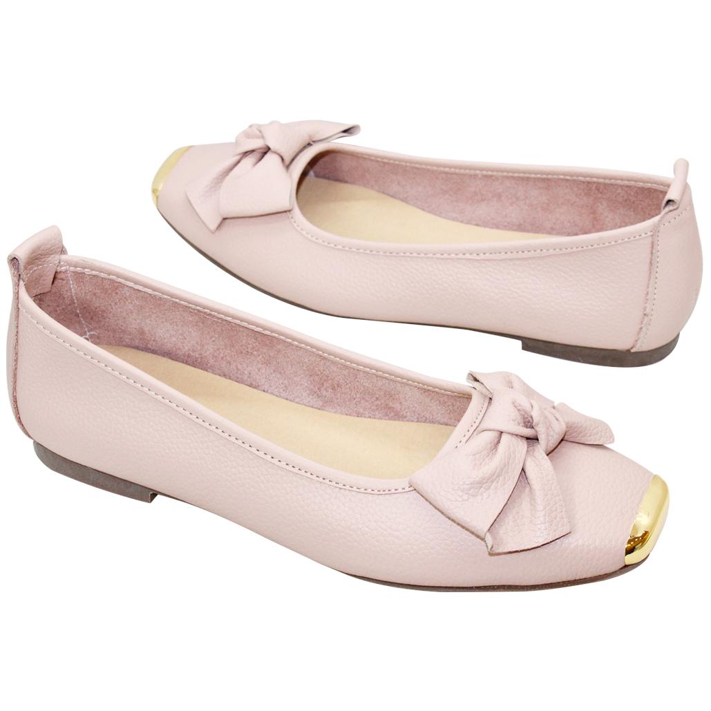 可愛蝴蝶結荔枝牛皮娃娃鞋