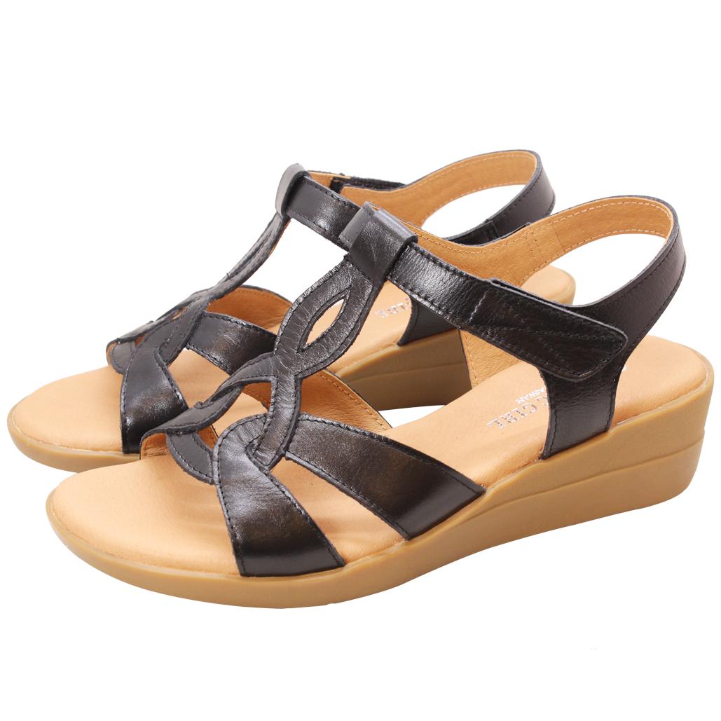 民族風小牛皮楔型涼鞋