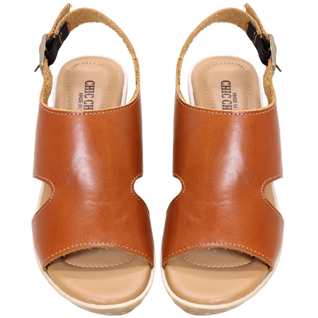 H字小牛皮輕量化楔型涼鞋