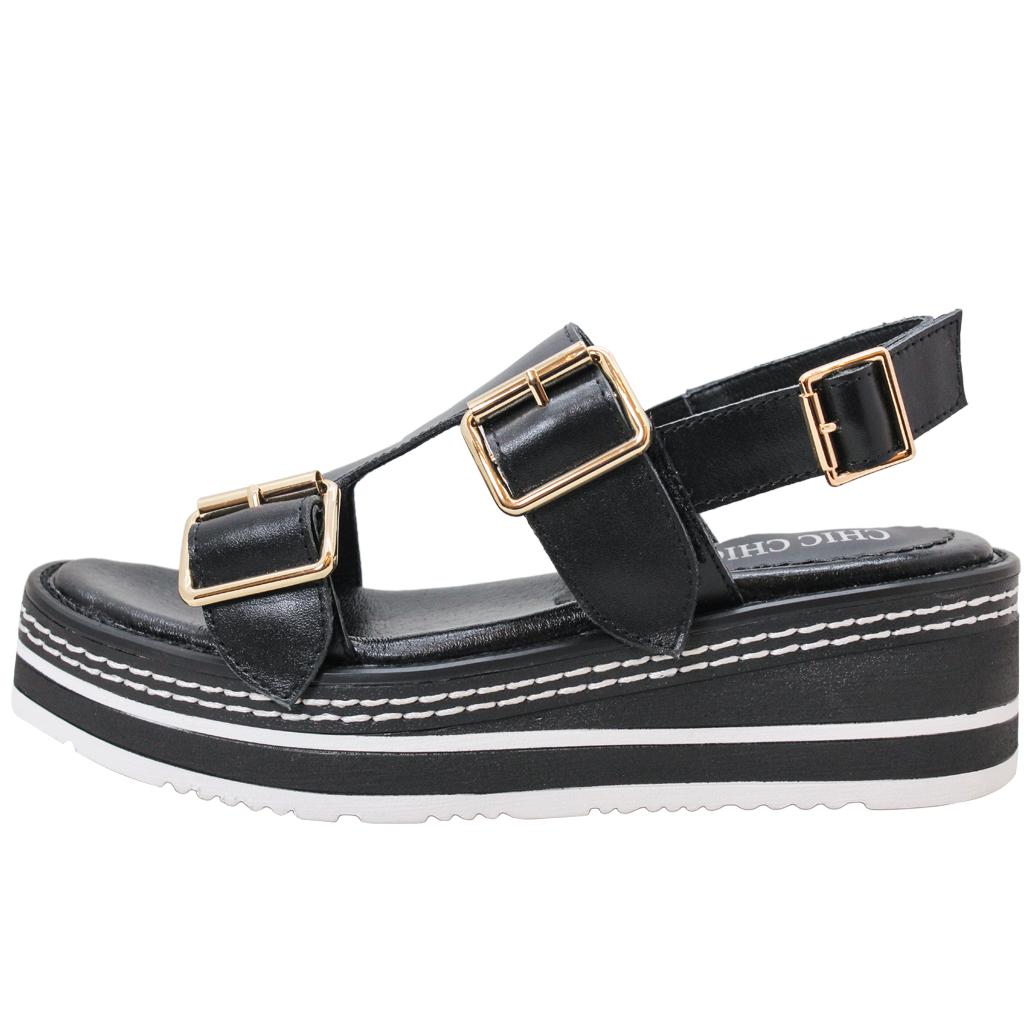休閒風小牛皮厚底輕量增高涼鞋