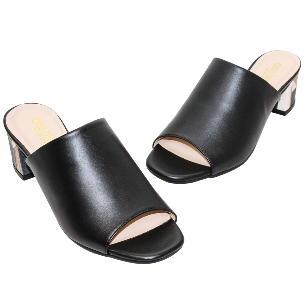 渡假風小羊皮幾何木紋粗跟涼鞋