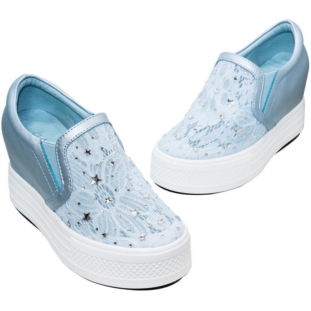 星星水鑽蕾絲小羊皮厚底增高鞋