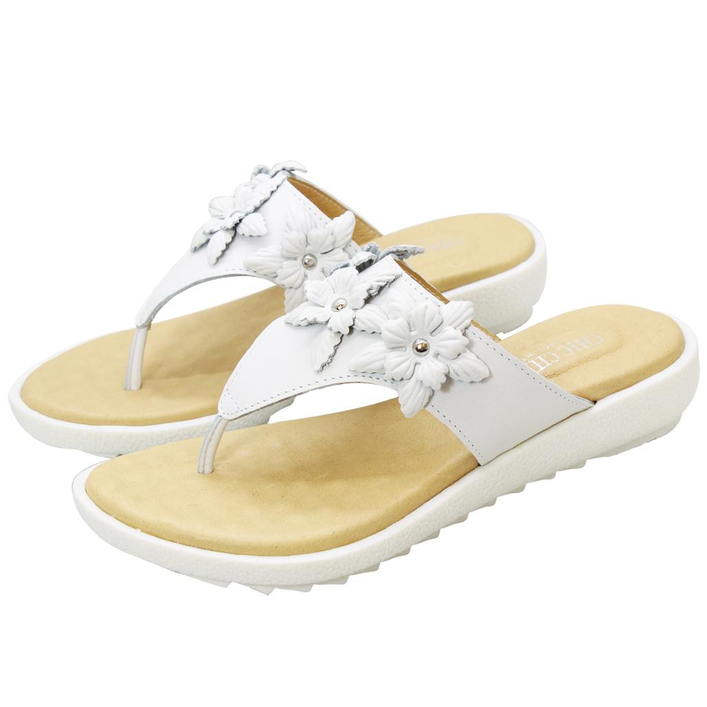 優雅小牛皮雕花夾腳氣墊涼鞋