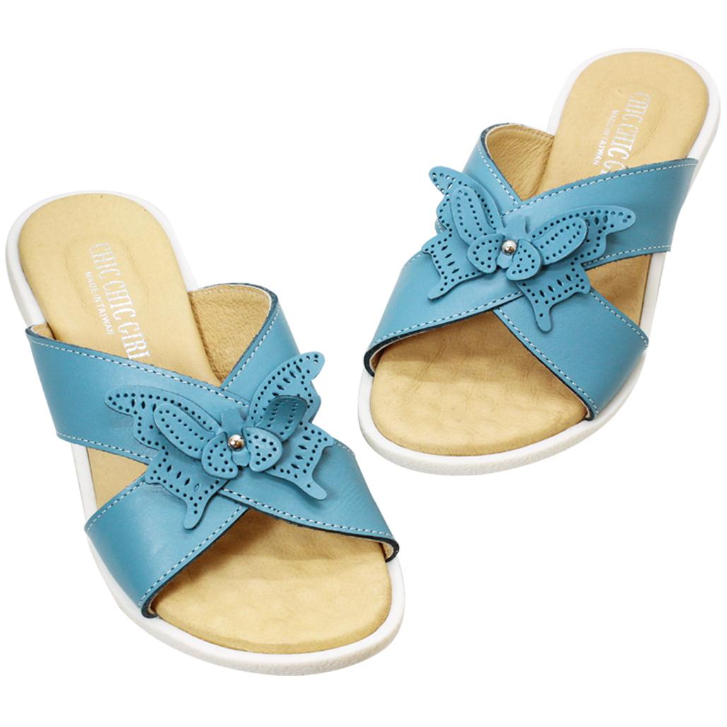 優雅小牛皮蝴蝶平口氣墊涼鞋