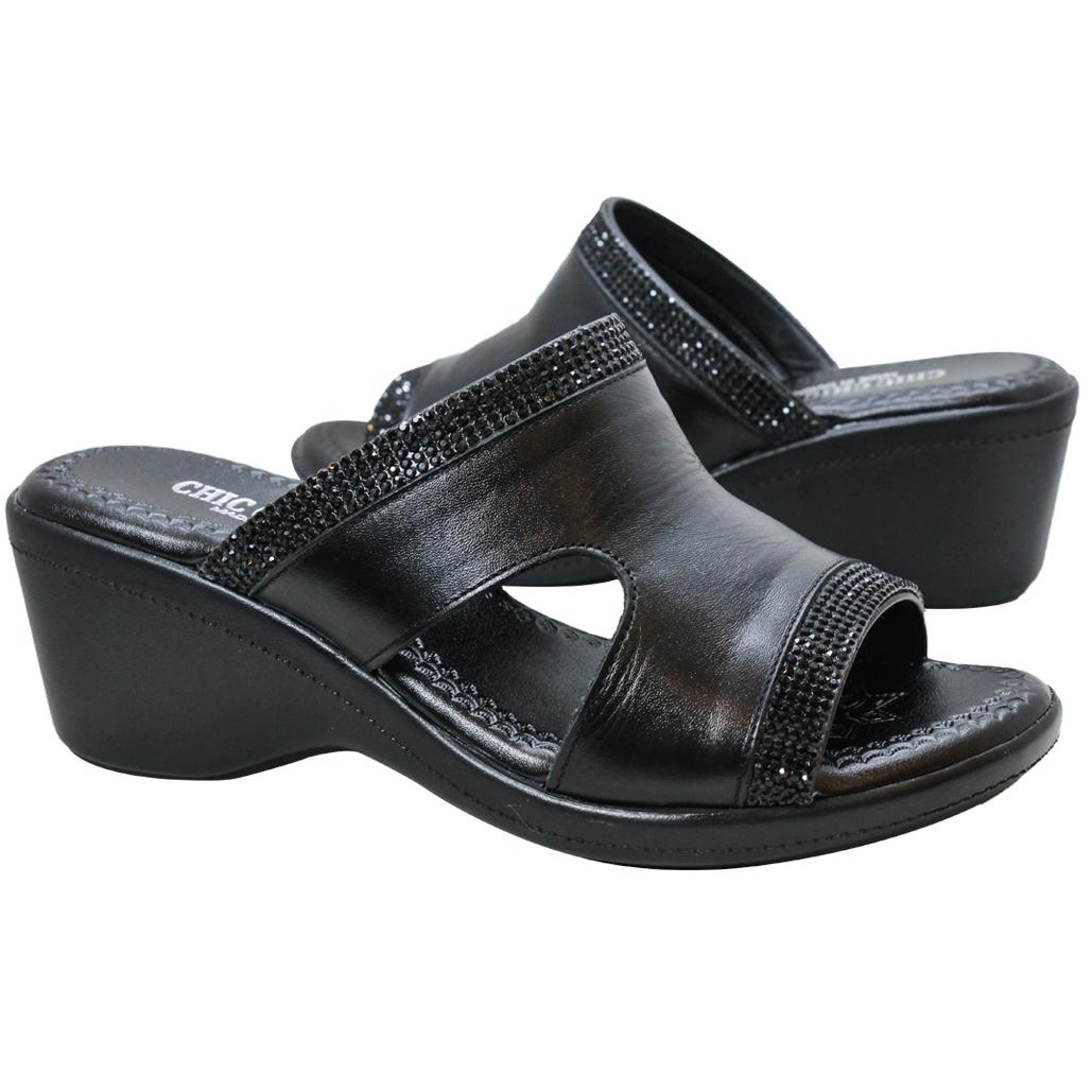 H字小牛皮亮鑽楔型涼鞋