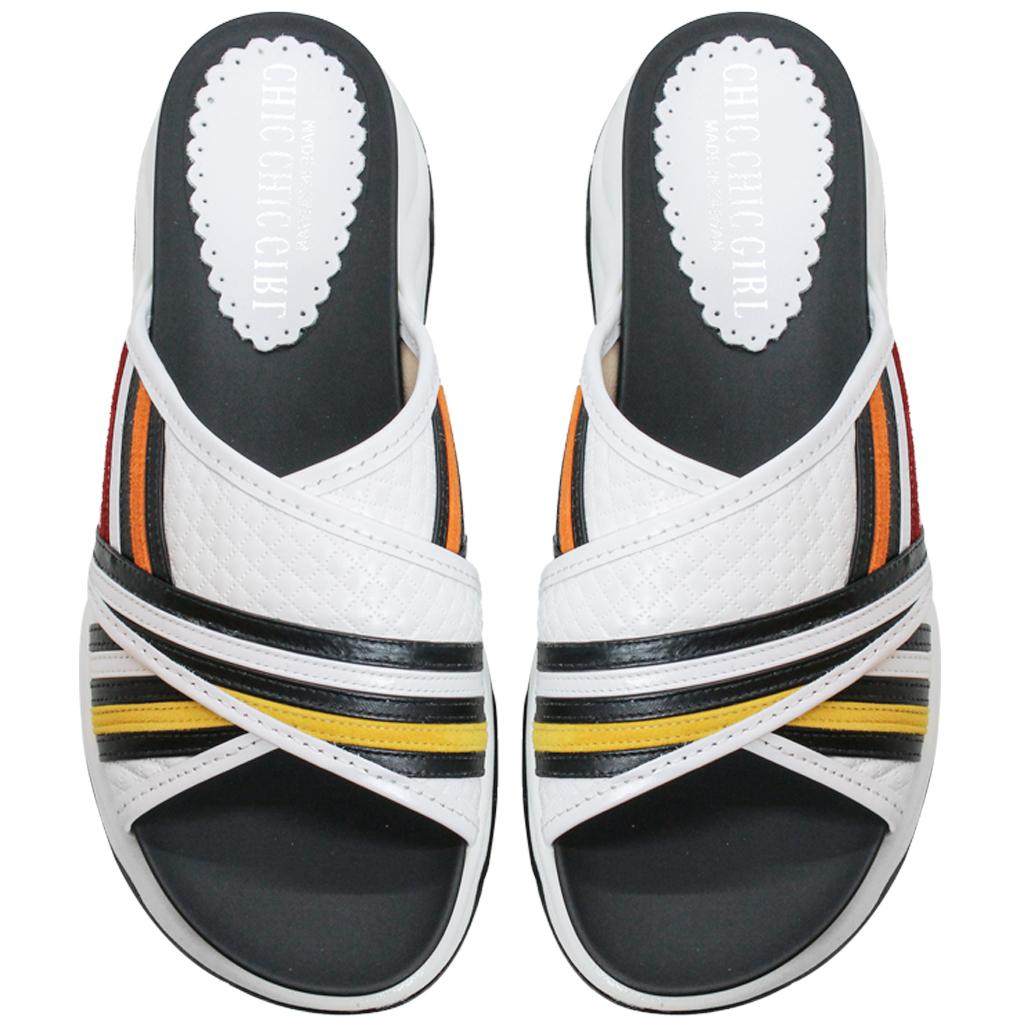 運動風小牛皮厚底涼鞋